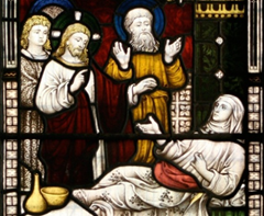 Jesus heals Peter's mother-in-law - stained glass window