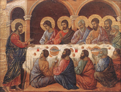 Appearance While the Apostles are at Table by Duccio di Buoninsegna (1308-1311)