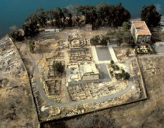 Aerial view of Peter's home in Capernaum (octagon-shape structure behind synagogue ruins)