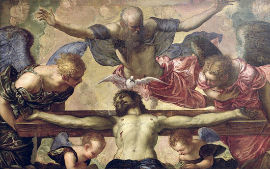 TINTORETTO, 1518 - 1594: Holy Trinity adored by the heavenly Choir
