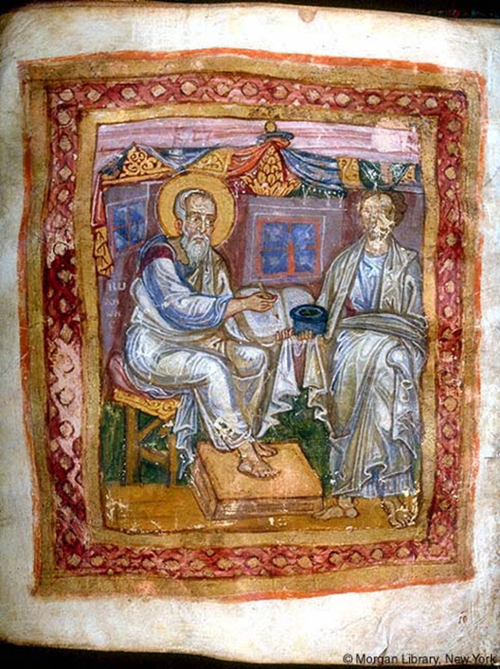Apostle John (left) and Marcion of Sinope (right) (about 1100 AD)