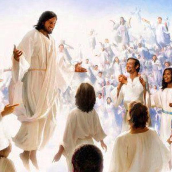 Jesus and the Great Multitude wearing white robes