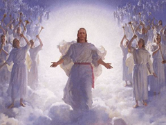 Jesus and angels wearing white and playing trumpets