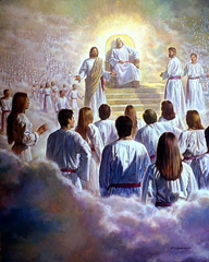 Jesus and God stand before the multitude