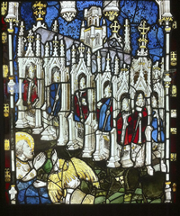 The Seven Churches of Asia in the East Window at York Minster. Medieval glass designed by John Thornton.