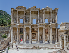 The roof of the Library of Celsus in Ephesus has collapsed, but its large façade is still intact