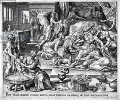 Depiction of the birth of Perez - copperplate engraving - Hermann Muller after Marten van Heemskerk (1498-1574)