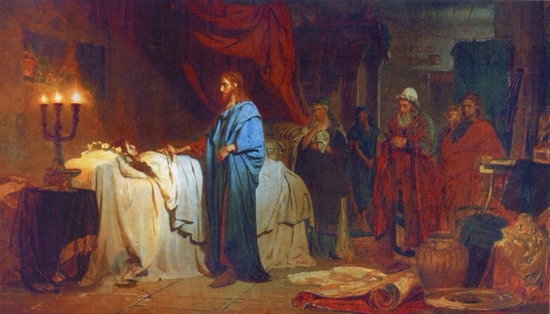 Jesus raises a dead girl and heals a sick woman - Artist Unknown