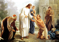 Jesus heals a blind man - Artist Unknown