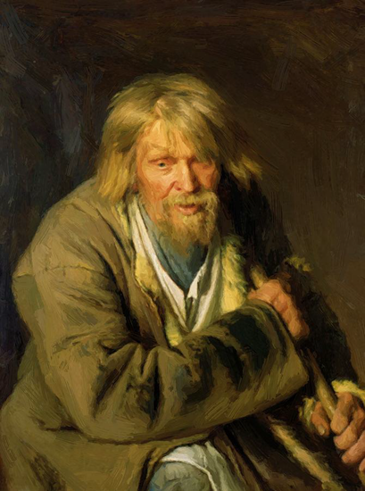 Old Man With A Crutch - Kramskoy Ivan (1872)
