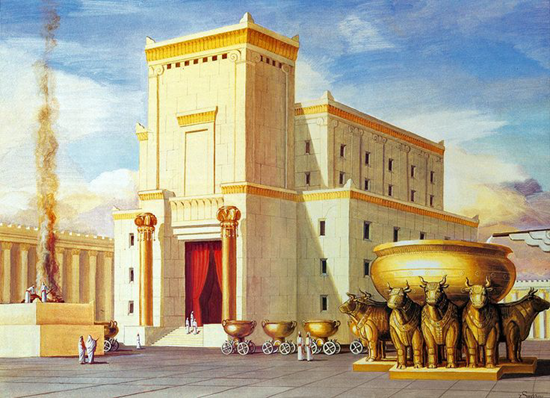 Artist's interpretation of the first temple in Jerusalem by Israel Truths (2012)