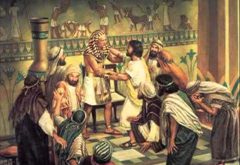 Judah pleads with Joseph to let him take Benjamin's place - artist unknown