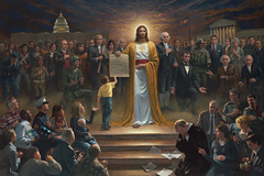 Painting showing Jesus holding the United States constitution - Jon McNaughton