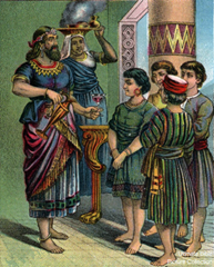 King Nebuchadzennar with Daniel, Hananiah, Mishael, and Azariah