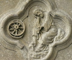 Amiens Cathedral (1218-1269) Quatrefoil 13 Upper - Ezekiel's vision of a wheel rotating within another wheel