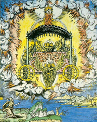 Ezekiel's vision includes a wheel within a wheel - Artist unknown