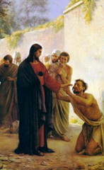 Man kneeling before Jesus shows his willingness to obey Jesus' teachings