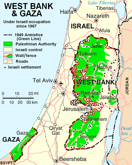 Map showing the propose Two-state solution to dividing Israel into two states