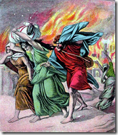 Lot and his family fleeing Sodom and Gomorrah