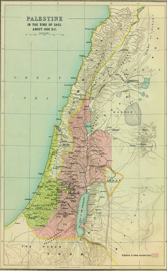 Map of Palestine in the age of Saul