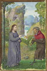 16th century master illuminator Simon Bening's depiction of the devil approaching Jesus with a stone to be turned into bread