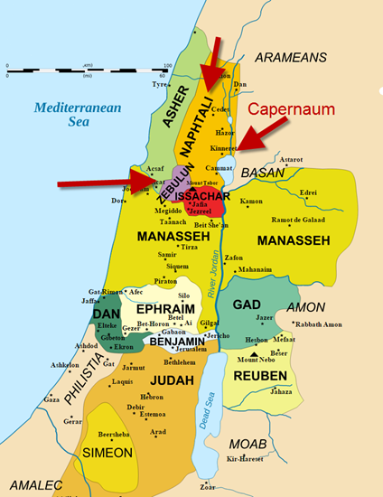 Map showing Capernaum (where Jesus began his ministry) and the areas of Zebulun and Naphtali