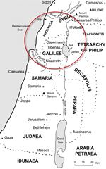 Map showing the area around Galilee where Jesus began healing the sick