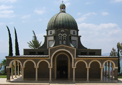Church of the Beatitudes on the northern coast of the Sea of Galilee in Israel. The traditional spot where Jesus gave the Sermon on the Mount.