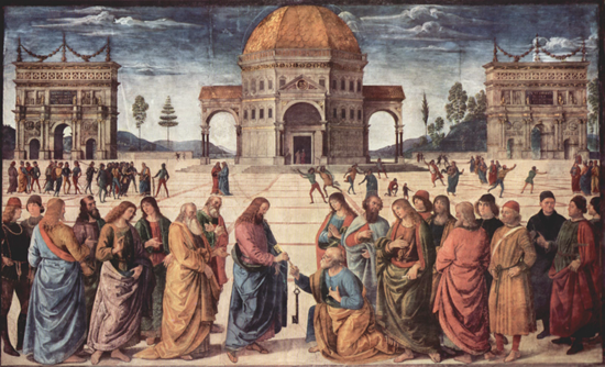 Jesus and followers in city