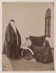 Antoin Sevruguin - Two veiled women and a child, late 19th century