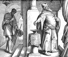 """Pharisee and the Tax Collector Parable - Pharisee and the Publican. Woodcut for """"Die Bibel in Bildern"""", 1860. by Julius Schnorr von Carolsfeld"""