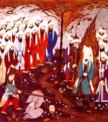 Painting from Siyer-i Nebi, Ali beheading Nadr ibn al-Harith in the presence of Muhammad and his companions.