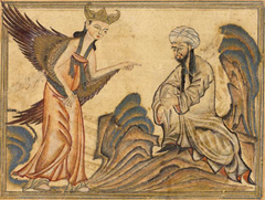 A depiction of Muhammad receiving his first revelation from the angel Gabriel. From the manuscript Jami' al-tawarikh by Rashid-al-Din Hamadani, 1307