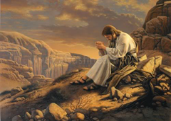 Jesus praying on the mountain