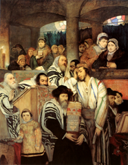 Jews praying in a synagogue on Yom Kippur, from an 1878 painting by Maurycy Gottlieb