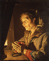 """Old Woman Praying,"" by Matthias Stom (Flemish painter, 1600-c. 1649), Metropolitan Museum of Art, New York"