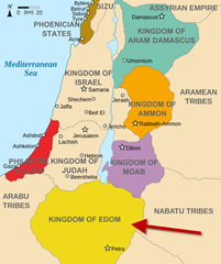 Map showing the area where Edomites settled
