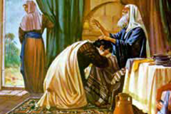 Isaac blesses Jacob (Jacob steals Esau's blessing)