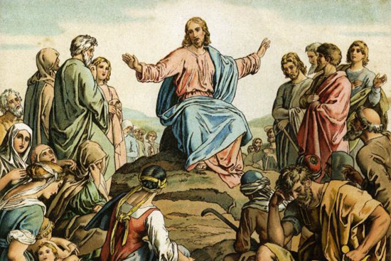 Jesus preaches about fasting to his followers during the Sermon on the Mount