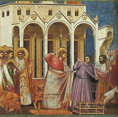 Jesus casting out the money changers from the Temple by Giotto, 14th century