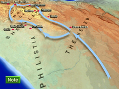 Possible route taken by Moses from Beersheba to Moriah