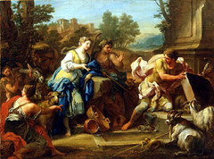 Jacob lifts the stone from the well so Rachel can water her sheep
