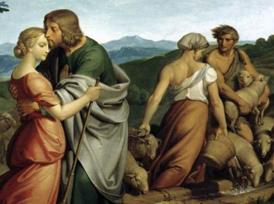 Section of painting showing Jacob's love for Rachel and Leah's jealousy