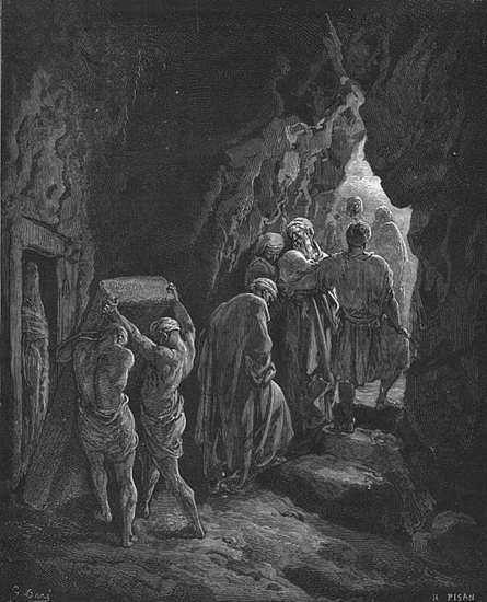 Woodcut by Gustave Dore depicting the burial of Sarah in the cave