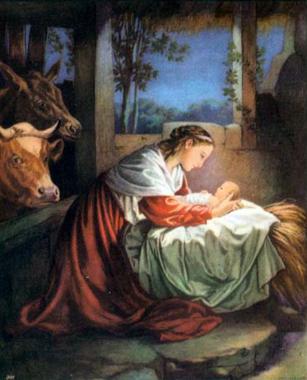 Mary looking over baby Jesus in a manger