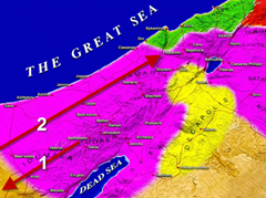 Map showing the movement of baby Jesus from Bethlehem to Egypt and from Egypt to Nazareth