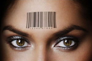 Mark of the Beast barcode on woman's forehead thumb