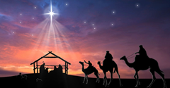 Three wise men riding camels approach baby Jesus