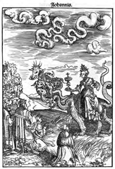 Whore of Babylon wearing the papal tiara from a woodcut in Luther Bible